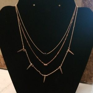 Buy 2 Get 1 Free AE Gold Layered Spike Necklace